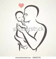 father and baby isolated vector symbol - buy this vector on Shutterstock & find other images. Father Daughter Tattoos, Father Tattoos, Dad Tattoos, Tattoos For Daughters, Tattoos For Guys, Baby Silhouette, Silhouette Tattoos, Pencil Art Drawings, Drawing Sketches