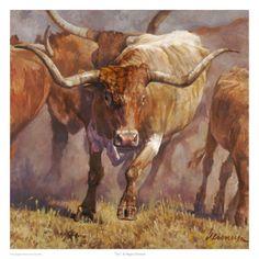 A herd of Texas longhorn cattle by Ragan Gennusa. Longhorn Cattle, Longhorn Cow, Western Landscape, Portraits, Le Far West, Wildlife Art, Animal Paintings, Photo Art, Westerns