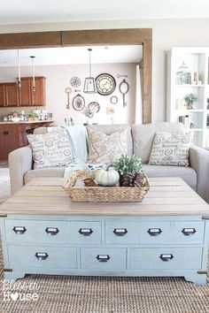 Love This wall color. It goes well with wood cabinets as well as the blue stuff in the rooms.