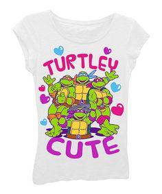 Look at this #zulilyfind! White 'Turtley Cute' Tee - Girls by Teenage Mutant Ninja Turtles #zulilyfinds