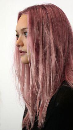 Long pink hair: