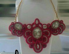 Stylish soutache necklace by aizhandossum on Etsy