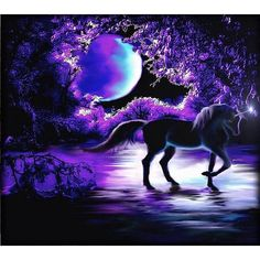 Black Unicorn in Purple Moonlight. Round drill, 4 kit s… DIY Diamond Painting. Black Unicorn in Purple Moonlight. Round drill, 4 kit sizes to pick from. Black Unicorn, Unicorn Horse, Purple Unicorn, Unicorn Art, Unicorn Drawing, Unicorn And Fairies, Unicorn Fantasy, Unicorns And Mermaids, Magical Creatures
