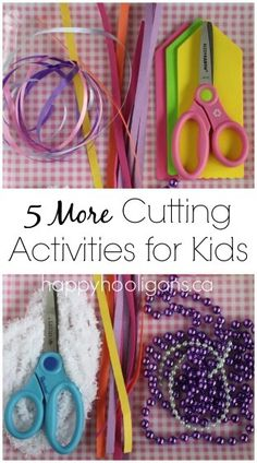 Cutting Practice - 5 More Scissor Activities for Kids - Happy Hooligans. For more fine motor pins, follow @Connecting for Kids