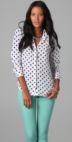 polka dot equipment blouse with blue jeans. LOVE.