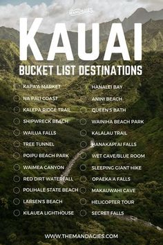 25 Once-In-A-Lifetime Things To Do In Kauai Kauai Hawaii Bucket List. Save this pin for tropical travel inspiration later and click the link for more Hawaii travel tips! The post 25 Once-In-A-Lifetime Things To Do In Kauai appeared first on Outdoor Ideas. Kauai Hawaii, Oahu, Map Of Kauai, Kapaa Kauai, Hawaii Surf, Hawaii Trips, Princeville Kauai, Kauai Vacation, Bucket List Travel
