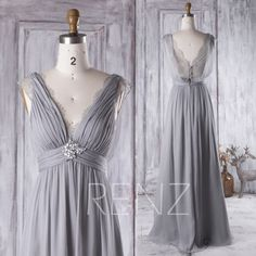 2016 Light Gray Bridesmaid Dress Long, V Neck Lace Wedding Dress with Beading, Draped Lace Back Prom Dress, A Line Formal Dress Floor (H267) by RenzRags on Etsy https://www.etsy.com/listing/466734045/2016-light-gray-bridesmaid-dress-long-v