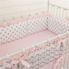 Carousel Designs Pink and Gray Chevron Crib Bedding Set ** Visit the image link more details. (This is an affiliate link) Cama Chevron, Baby Girl Bedding, Baby Bedding Sets, Gray Chevron, Baby Girl Crib Sets, Pink Comforter, Nursery Fabric, Ruffle Bedding, Crib Bedding