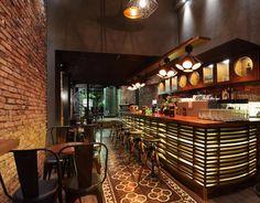 Cement Tiles by Tsourlakistiles Cafe Interior Design, Interior Decorating, Restaurant Design, Restaurant Bar, Factory Design, Concrete Tiles, Handmade Tiles, Coffee Shop, Flooring