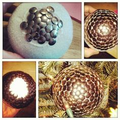 My DIY Thumbtack Ball Christmas Ornament i made! Easy! (med styrofoam ball, with about 415 tacks, foam glue, rope, superglue.) Dollar general has tacks 300pc for a $1.00