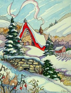 "Daily Paintworks - ""Winter Dream Storybook Cottage Series"" - Original Fine Art for Sale - © Alida Akers Storybook Cottage, Cottage Art, House Illustration, Illustrations, Christmas Pictures, Christmas Art, Images Vintage, Christmas Graphics, Jolie Photo"