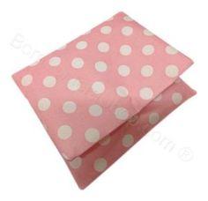 Sacchetto cuscino rosa pois bianchi Battesimo Nascita Bimba Fai da Te