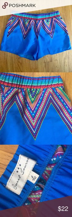 Bright Blue Chevron Print Shorts Sweet Journey bright blue Chevron rainbow print shorts with elastic waistband. Size medium. In great condition (new without tags). Sweet Journey Shorts