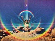 The rainbow spirit Foto Fantasy, Fantasy Art, Darkside, Psy Art, A Silent Voice, Psychedelic Art, Illustrations, Yoga, Trippy