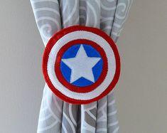 2 Curtain Tie Backs, superhero, American tie backs, Captain America inspired tie… - Visit to grab an amazing super hero shirt now on sal Superhero Room Decor, Baby Bedroom, Kids Bedroom, Bedroom Ideas, Marvel Bedroom, Avengers Room, Captain America Logo, Felt