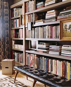 Walnut wood shelves, leather bench. Идея: картины на книжных стеллажах