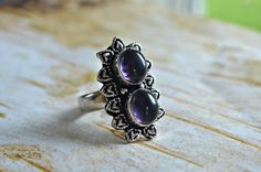 Your place to buy and sell all things handmade Amethyst Jewelry, Amethyst Gemstone, Purple Amethyst, Gemstone Jewelry, Purple Fashion, Love Ring, Copper Color, Healing Stones, Love Heart