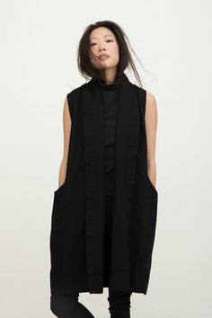 // Funnel Neck in Soft Black Heavy Weight Cotton Knit