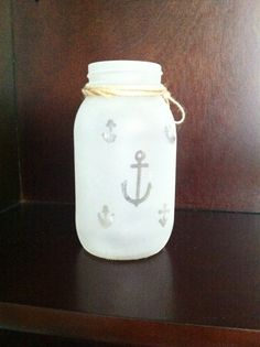 7 Decorative Frosted Nautical Mason Jar with by DesignsbyAAllen, $8.99