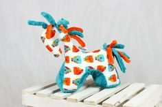 Sensory Toy Horse Olws Teal Mascot Newborn Gift Cuddly by NuvaArt