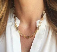 #HazelSmyth #DecoCollection Deco Moonstone- Bicolor Necklace. Gold.