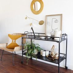 Modern Two-Tier Black Bar Cart on Casters | Holistic Habitat