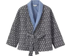 Quilted kimono jacket in hand woven cotton ikat, lined in cotton chambray. Bracelet-length sleeves - to be worn rolled or as you will. Two pockets.