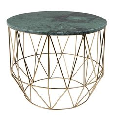 Open metal frame side / coffee table with green marble top. A stylish addition to your living room! Features a brass powder coated iron base in a geometric design.