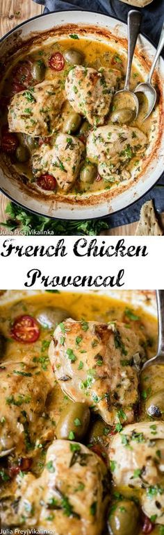 A quicker and leaner version of the French classic! Chicken breasts cooked in white wine and herbs de Provence.