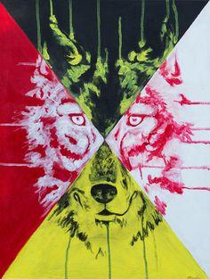 """Medicine Wolf""  Acrylic on Canvas"