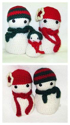 Christmas Snowman Family Amigurumi Free Crochet Pattern
