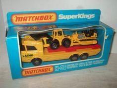 Rare Matchbox Super Kings K-36 Construction Transporter w/Dozer & Payloader