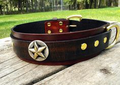 Large leather dog collar 2 inch wide heavy duty by HiHorseRanch, $59.00