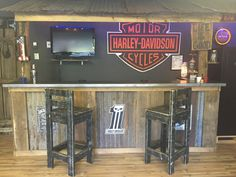 Garage Bar, Man Cave, Basement Bars, Rustic Bar, Harley Davidson Bar