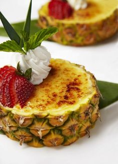 # unique Desserts Try This Island-Inspired Twist on a Classic: Pineapple Creme Brulee Recipe Winter Desserts, Just Desserts, Dessert Recipes, Unique Desserts, Tropical Desserts, Grilled Desserts, Paleo Dessert, Cream Brulee, Weight Watcher Desserts
