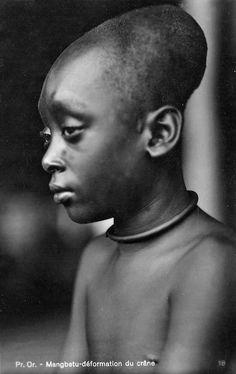 "Africa | ""Mangbetu - artificial cranial deformation"".  Congo.  ca. 1929 - 1937. | ©Casimir Zagourski"
