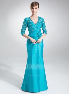 Trumpet/Mermaid V-neck Floor-Length Taffeta Mother of the Bride Dress With Lace Beading Flower(s) (008006005) - JJsHouse