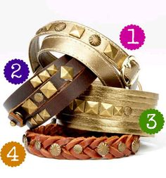 #Free project ideas for #leather wrapped #bracelets!    1. http://www.joann.com/wrap-around-leather-bracelet-with-buckle/prod1531913/    2. http://www.joann.com/wrap-around-leather-bracelet/prod1531912/    3. http://www.joann.com/cuff-leather-bracelet/prod1531904/    4. http://www.joann.com/braided-leather-bracelet/prod1531903/