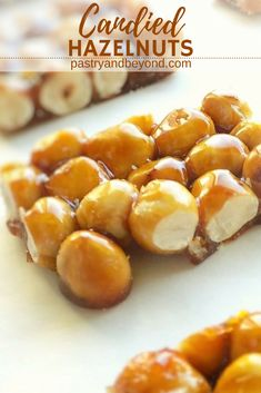 Candied Hazelnuts – You only need 2 ingredients to make these crunchy candied hazelnuts! This yummy hazelnut praline recipe is so easy to make! Candy Recipes, Snack Recipes, Dessert Recipes, Snacks, Keto Desserts, Hazelnut Recipes, Almond Brittle, Praline Recipe, Hazelnut Praline
