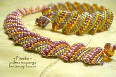 seed & bead weaving classes--think this is flat Cellini spiral--love the colors (class offered by Buttercup Beads)
