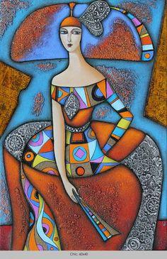 ~ by Wlad Safronow, Ukranian artist, born 1965 in Kharkov, Ukraine. Figurative Kunst, Surrealism Painting, Arte Pop, Art Moderne, Figure Painting, Painting Abstract, Acrylic Paintings, Abstract Portrait, Oeuvre D'art