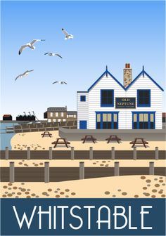 Old Neptune Whitstable on the Kent coast by Karen Wallace, Railway Poster style Illustration Posters Uk, Railway Posters, Poster Prints, Art Prints, British Travel, British Seaside, Whitstable Kent, Kent Coast, Region Bretagne