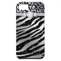 Zebra iPhone Case Mate Tough Jewelry Glitter iPhone 5 Covers