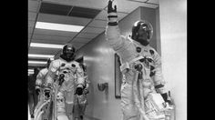 """Neil Armstrong leads Edwin """"Buzz"""" Aldrin & Michael Collins out of the space center and on to Apollo 11 Neil Armstrong, Sistema Solar, Apolo Xi, Programme Apollo, Apollo 11 Crew, Apollo Space Program, Apollo Missions, Milky Way, Astronomy"""