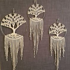 12in or 8in Macrame Tree of Life; made with 2mm cotton cord
