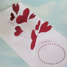 Hearts Card Spiral Pop Up  3D Hearts Card  by LittleRoundButton, £3.50
