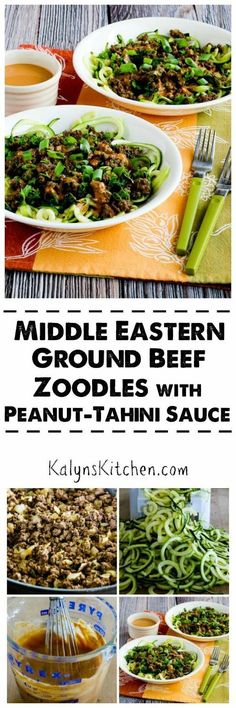Middle Eastern Ground Beef Zoodles with Peanut-Tahini Sauce are a great dinner when you have extra zucchini on your hands! You can make the sauce with all peanut butter if you don't have Tahini, and this tasty dinner is low-carb, gluten-free, and South Beach Diet friendly. [found on KalynsKitchen.com]