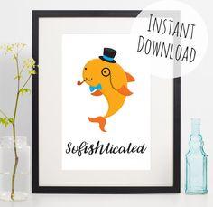 Fish Print Download Fishing Gift Animal Pun Wall Art