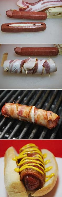 Cheese Stuffed Bacon Wrapped Hot Dog... cut it up as hot dog bites for an app.