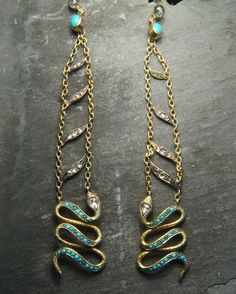 New to CJAntiquesLtd.com Late Victorian looooong drop snake earrings set with rose cut diamonds and turquoise and over 4 inches long. Head over to the site for all the details.